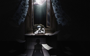 Picture night, paper, shadow, chair, boy, window, cane, curtains, the full moon, office, order, Kuroshitsuji, Ciel …