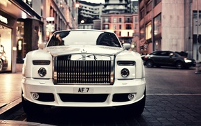Picture car, auto, white, the city, coupe, Phantom, Rolls Royce, rolls Royce, luxury, Mansory, monte-carlo