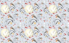 Wallpaper winter, snow, Rowan, bullfinches