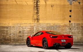 Picture red, wall, mirror, red, wall, ferrari, Ferrari, yellow, yellow, Italy, 458italia, rear view, otragenie