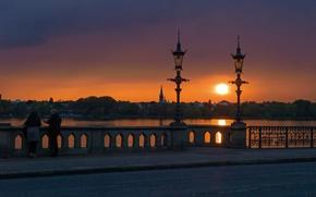 Picture the sky, landscape, sunset, lake, Germany, lights, promenade, Hamburg