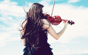 Picture the sky, girl, clouds, the wind, mood, violin, dress, mood