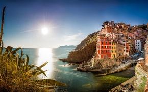 Picture sea, building, Italy, panorama, Italy, The Ligurian sea, Riomaggiore, Riomaggiore, Cinque Terre, Cinque Terre, Liguria, ...