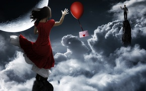 Picture love, the envelope, a balloon, message