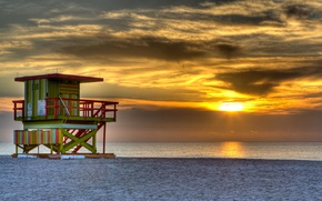 Picture sand, sea, beach, the sky, the sun, clouds, sunset, the ocean, Miami, the evening, tower, …