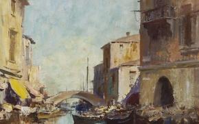 Picture bridge, home, picture, channel, the urban landscape, Edward Seago, The Morning Sunshine. Chioggia