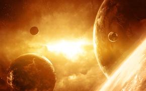 Picture lights, planet, stars, Space, art, QAuZ
