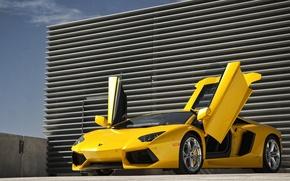 Picture the sky, yellow, Lamborghini, supercar, supercar, sky, yellow, aventador, lp700-4, Lamborghini, aventador