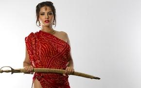 Picture model, sword, actress, brunette, Sunny Leone