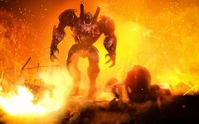 Picture fire, batman, robot, ruins, Iron Man, crossover, dc comics, marvel comics, Tony Stark, bruce wayne, …