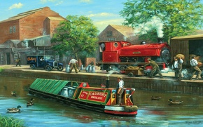 Picture landscape, the city, people, figure, duck, the engine, picture, channel, car, barge, cadbury