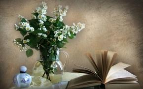 Picture wall, perfume, book, vase, Jasmine