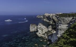Picture The Mediterranean sea, France, France, coast, sea, yachts, Corsica, Mediterranean Sea, Corsica, rocks, Boniface, Bonifacio
