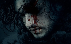 Picture blood, fantasy, actor, movie, face, Song of Ice and Fire, season 6, film, Jon Snow, …
