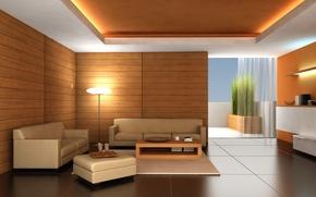 Wallpaper room, sofa, floor, apartments, Interior, table, lamp, tree, Design