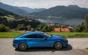 Picture Blue, Porsche, Panamera, Car, Turbo, Side, 2016