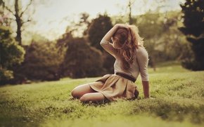Picture summer, grass, girl, pose, hair, blonde, sitting