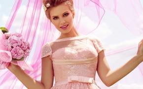 Picture girl, flowers, model, bouquet, dress, fabric, beauty, veil
