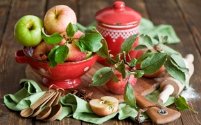 Picture leaves, apples, dishes, Board, fruit, cinnamon, red, spoon, rolling pin, star anise