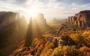 Wallpaper autumn, rocks, the sun, Meteors, mountains, light, Greece