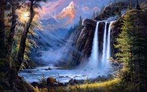 Wallpaper forest, landscape, mountains, river, waterfall, bears, art, Jesse Barnes