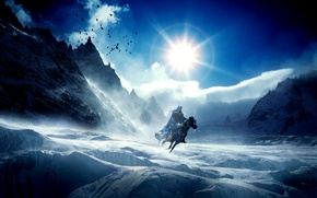 Picture cold, ice, winter, the sky, the sun, mountains, birds, fiction, horse, icicles, rider