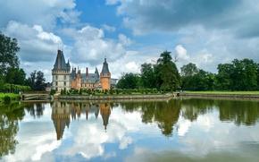 Picture water, clouds, trees, design, pond, reflection, castle, lawn, France, the bushes, Chateau de Maintenon, Maintenon