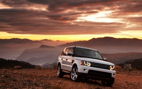 Picture auto, white, sunset, mountains, Range Rover