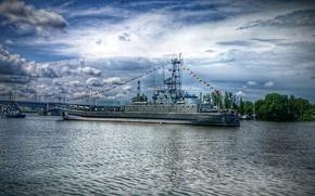 Picture clouds, bridge, ship, river