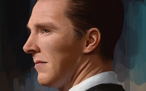 Picture portrait, art, face, actor, profile, Benedict Cumberbatch, figure, Benedict Cumberbatch