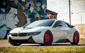 Picture bmw, red, white, wheels, tuning, face, germany, vossen, street art, electro car