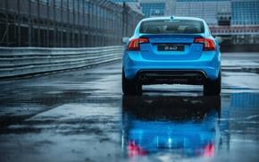 Picture asphalt, blue, puddle, the fence, sedan, s60, volvo, Volvo, feed, polestar, C60
