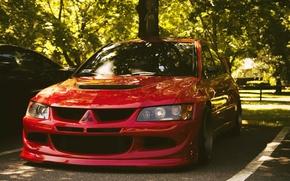 Picture trees, Parking, red, Mitsubishi Lancer Evolution