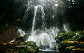 Picture forest, trees, squirt, glare, stones, waterfall, moss, the rays of the sun, Cuba, Cienfuegos, Cienfuegos