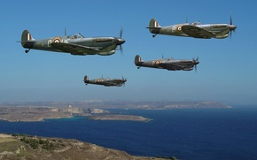 Picture the sky, figure, art, fighters, WW2, British, Supermarine Seafire, the English channel