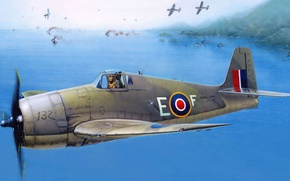 Picture figure, fighter, art, Mk. III, Royal Navy, Mk. II, British Hellcat