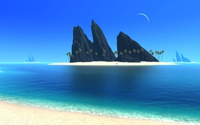 Wallpaper palm trees, mountains, island, sea, the moon, a month, the sky, rocks, landscape
