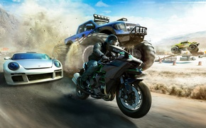 Picture The sky, Sand, Auto, Mountains, Dust, Machine, Race, Motorcycle, Ubisoft, The Crew, Bigfoot, Ivory Tower, …