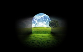 Picture glass, nature, tree, shadow, the tunnel, output, black background, entrance