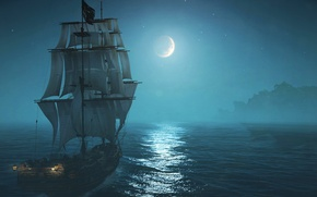 Picture sea, the sky, trees, lights, fog, the moon, ship, sailboat