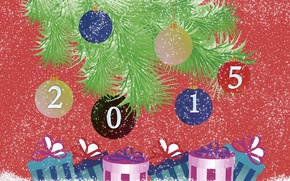 Picture snow, branches, text, background, Wallpaper, toys, tree, Balls, New year, 2015