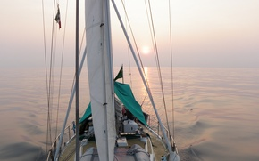Picture fog, the way, the ocean, morning, yacht, Atlantic