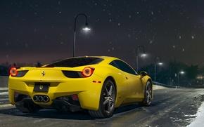 Picture Ferrari, 458, Snow, Yellow, Italia, Road, Supercar, Rear, Ligth, Nigth