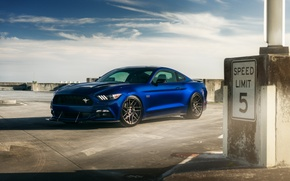 Picture car, Ford Mustang, blue, hq Wallpapers, William Stern
