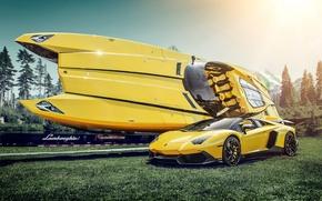 Picture yellow, boat, supercar, Lamborghini Aventador, Lamborghini Boat