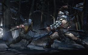 Picture battlefield, snow, battle, enemy, tree, MK 10, sword, blood, MK X, armour, fight, warrior, man, ...