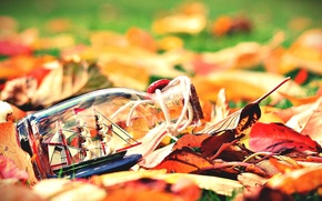 Picture autumn, leaves, background, widescreen, Wallpaper, mood, boat, ship, bottle, sails, wallpaper, leaves, the ship, widescreen, …