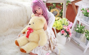 Picture look, girl, face, hair, toy, bear, Asian, sitting