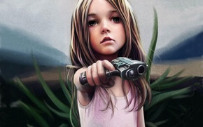 Picture grass, look, style, weapons, sweetheart, bullet, dress, girl, trunk, long hair, focus, Threat, threatening