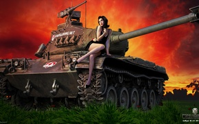 Picture field, grass, girl, sunset, figure, easy, art, tank, glow, German, World of Tanks, Nikita Bolyakov, …